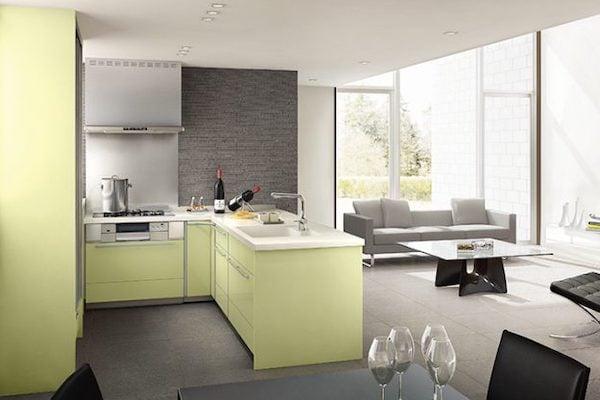 対面式と壁付け式 L型キッチン
