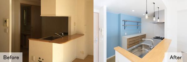 洗面所に通じる背面の扉をつぶし、収納スペースを追加