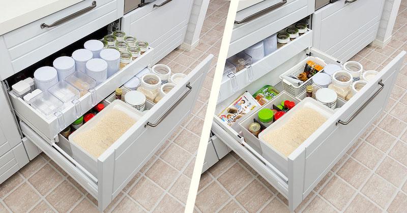 【クリナップSTEDIA収納事例】シンク下・コンロ下の引出しや調味料をすっきり見せる収納方法